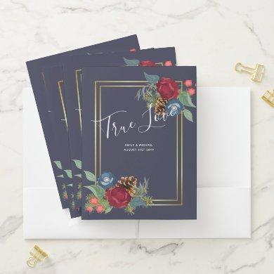 Winter Wedding Burgundy Teal Blue Modern Pocket Folder