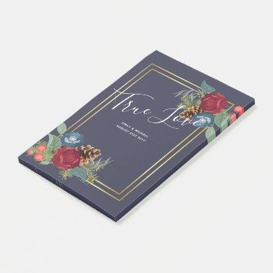 Winter Wedding Burgundy Teal Blue Modern Post-it Notes