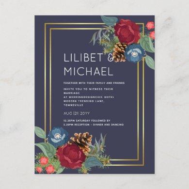 Winter Wedding Burgundy Teal Blue Modern Postcard