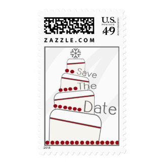 Winter Wedding Cake Save The Date Postage - Red