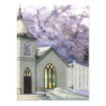 Winter Wedding Chapel Postcard