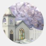Winter Wedding Chapel Round Stickers