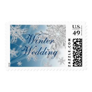 Winter Wedding Colors Blue White Snowflake Design Postage Stamp