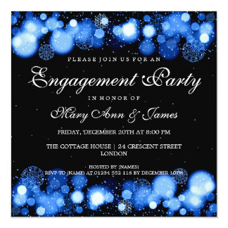 Winter Wedding Engagement Party Blue Lights Card
