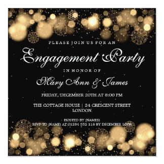Winter Wedding Engagement Party Gold Lights Card