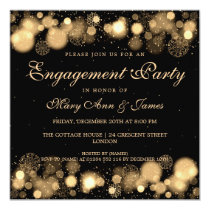 Winter Wedding Engagement Party Gold Lights Invitation