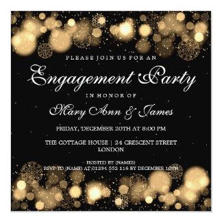 Winter Wedding Engagement Party Gold Lights Invitation