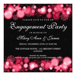 Winter Wedding Engagement Party Red Lights Card