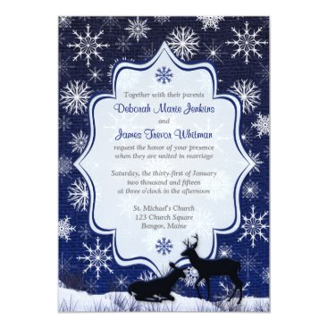 Winter Wedding | FAUX Burlap, Snowflakes, Deer Invitation