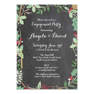 Winter Wedding Floral Holly Engagement Invite