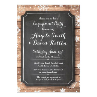 Winter Wedding Floral Snowflake Engagement Invite
