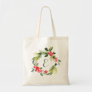 Winter Wedding Floral Watercolor Wreath | Monogram Tote Bag