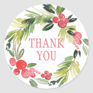 Winter Wedding Floral Wreath  | Thank You Classic Round Sticker
