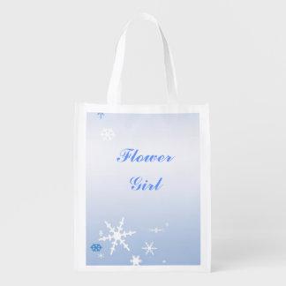 Winter Wedding Flower Girl Tote Reusable Grocery Bag