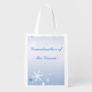 Winter Wedding Grandmother of the Groom Tote Reusable Grocery Bags