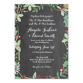 Winter Wedding Holly Chalk Holiday Party Invite