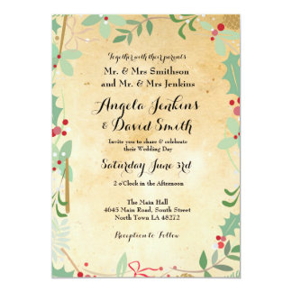 Winter Wedding Holly Paper Holiday Party Invite