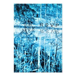 Winter Wedding Infrared Blue Photo RSVP Cards