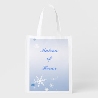 Winter Wedding Matron of Honor Tote Reusable Grocery Bags