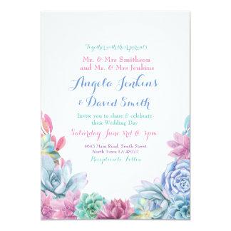 Winter Wedding Pastels Succulent Party Invitation