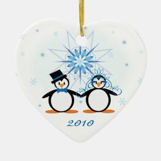 Winter Wedding Penguins Customizable Ornament