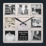 "Winter Wedding Photo Collage Or Anniversary Snow Square Wall Clock<br><div class=""desc"">This is one of many stylish wedding anniversary gifts and cards featured in this store. Most items can be edited for any anniversary including the major milestones, 15th, 40th, 50th and 60th. You can edit using the customize or personalize tab. ____________________________________________________________________________ 1. For assistance, custom design or matching items (view...</div>"