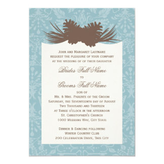 Winter Wedding Pinecones and Damask Card