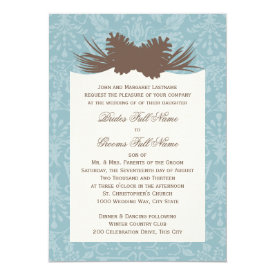 Winter Wedding Pinecones and Damask 5x7 Paper Invitation Card