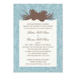 "Winter Wedding Pinecones and Damask 5"" X 7"" Invitation Card"