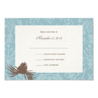 "Winter Wedding Pinecones Response 3.5"" X 5"" Invitation Card"