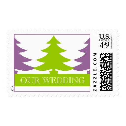 Winter Wedding Postage Stamps Green Purple
