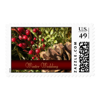 Winter Wedding Postage Stamps - Pine Cone Postage