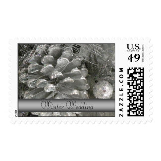 Winter Wedding Postage Stamps - Silver Pine Cone P