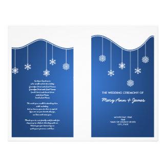 Winter Wedding Program Snowflake Decoration Blue