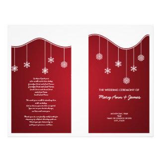 Winter Wedding Program Snowflake Decoration Red Flyer