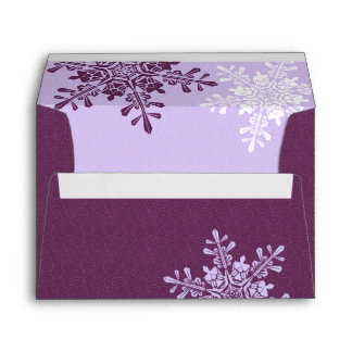 Winter Wedding Purple Snowflake Return Address A7 Envelope