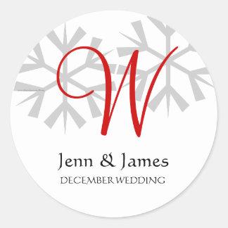 Winter Wedding Red Announcement Monogram Seal Round Stickers