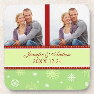Winter Wedding Red Green Snow Photo Coasters