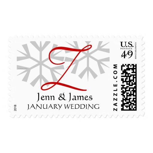 Winter Wedding Red Monogram Postage