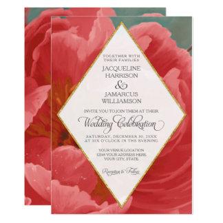 Winter Wedding Red Peony Gold Faux Glitter Diamond Card