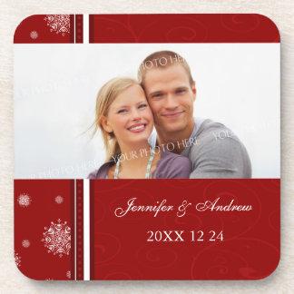 Winter Wedding Red White Snow Photo Coasters