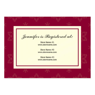 Winter Wedding Registry Card in Cranberry on Cream Large Business Cards (Pack Of 100)