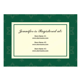 Winter Wedding Registry Card in Pine on Cream Large Business Cards (Pack Of 100)