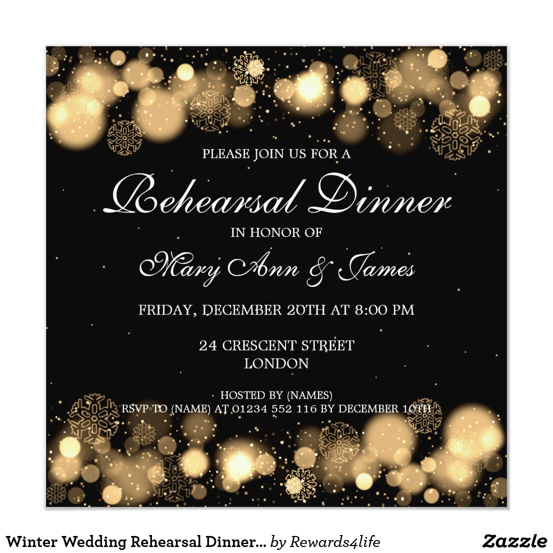 Winter Wedding Rehearsal Dinner Gold Lights Invitation