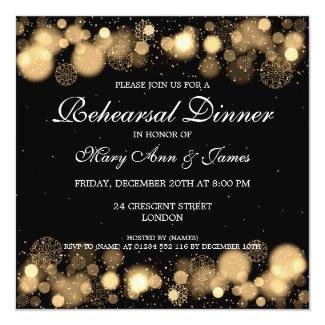 Winter Wedding Rehearsal Dinner Gold Lights Invitation