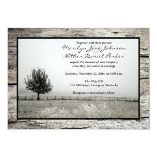 Winter Wedding | Rustic Frost | Fog | Tree | Wood Card