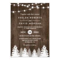 Winter Wedding Rustic Wood String Lights Pine Tree Card