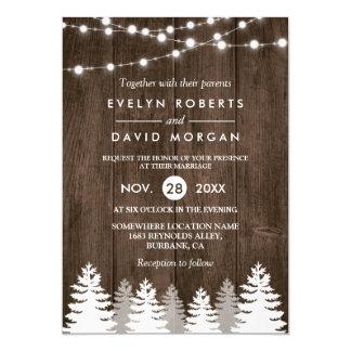 Winter Wedding Rustic Wood String Lights Pine Tree Invitation