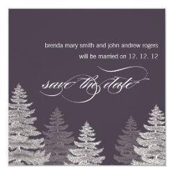 Winter Wedding Save the Date Cards Trees 5.25