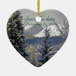 Winter Wedding Save the Date Ceramic Ornament